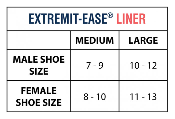 EXTREMIT-EASE Garment Liner Sizing Chart