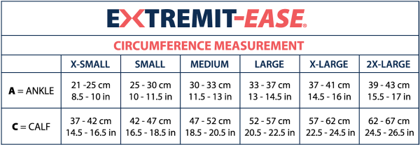 EXTREMIT-EASE Siizing Chart showing all measurements for extra small, small, medium, large, extra large, and extra-extra large sizes as well as tall and regular lengths