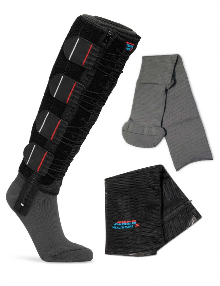 Black EXTREMIT-EASE Compression Garment, Gray Garment Liner, and Mesh Laundry Bag