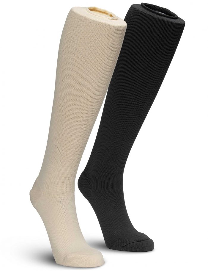 EXTREMIT-EASE Garment Liners in Tan and Dark Gray on Mannequin legs