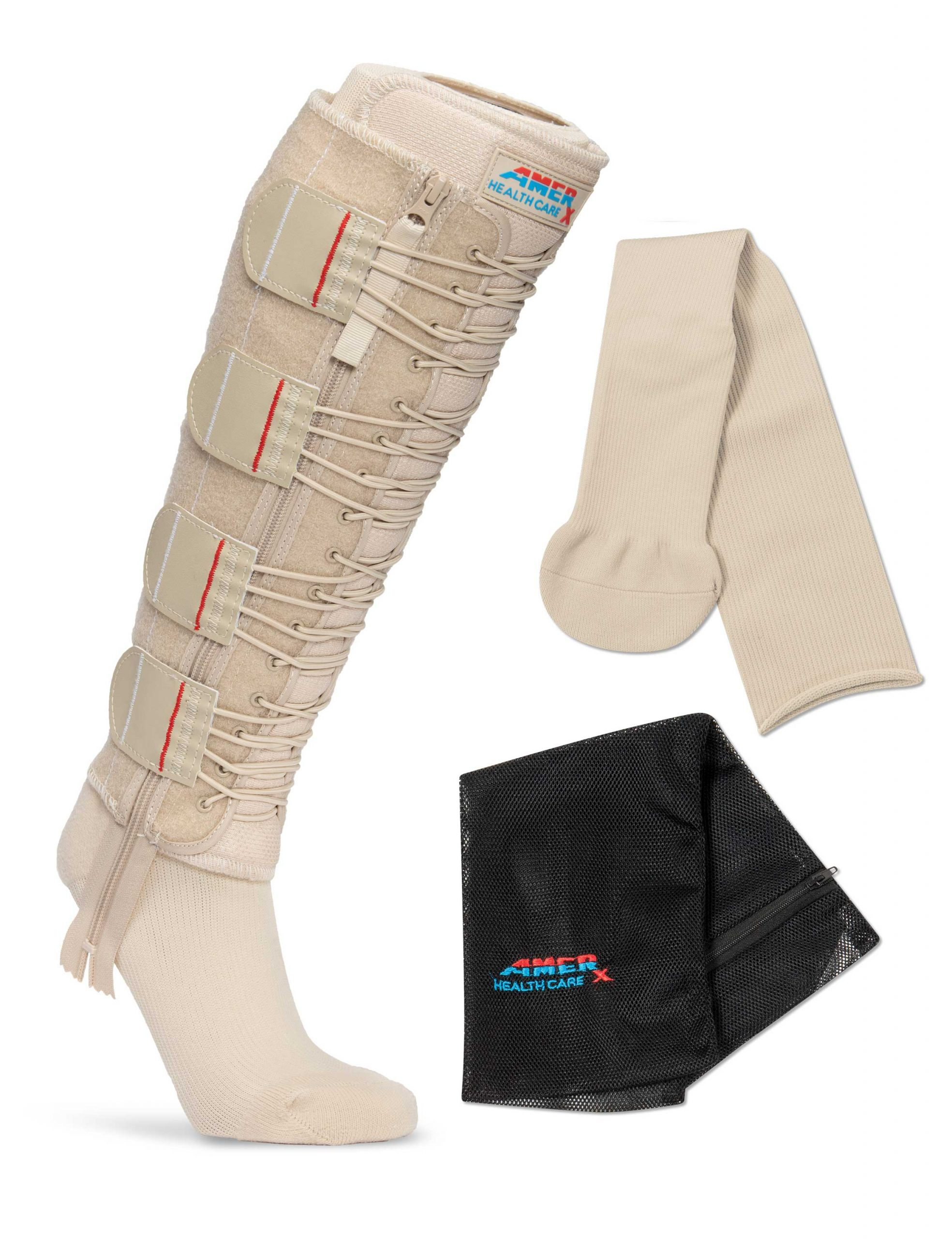 Tan EXTREMIT-EASE Compression Garment, Tan Garment Liner, and Mesh Laundry Bag