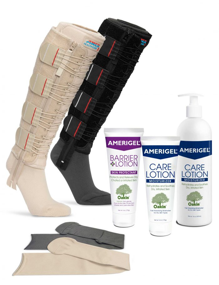 Image of tan and black EXTREMIT-EASE Compression Garments, tan and gray EXTREMIT-EASE Garment Liners, tube of AMERIGEL Barrier Lotion, a tube of AMERIGEL Care Lotion, and a pump bottle of AMERIGEL Care Lotion, representing all options available with the the EXTREMIT-EASE Complete Compression and Skin Care Bundle.