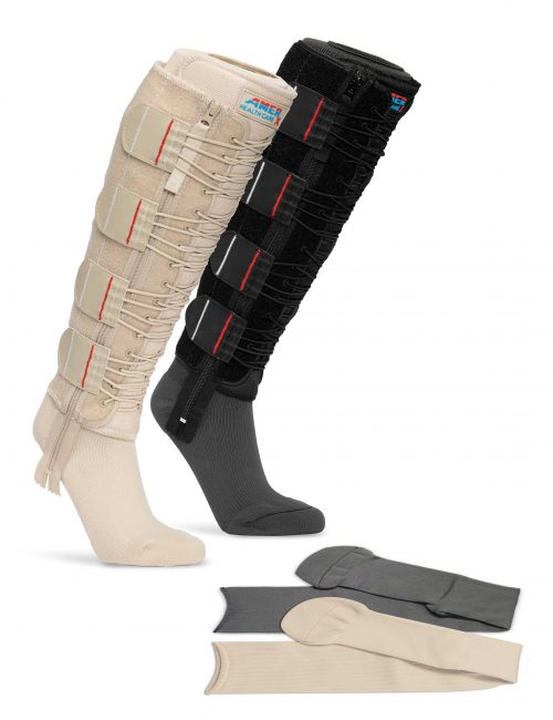 Image of tan and black EXTREMIT-EASE Compression Garments, tan and gray EXTREMIT-EASE Garment Liners, representing all options available with the the EXTREMIT-EASE Compression Therapy Starter Pack.