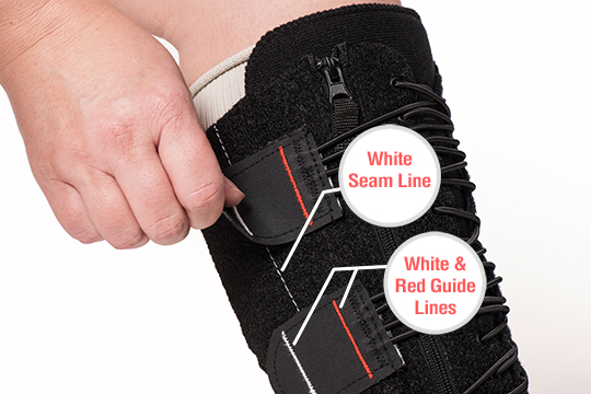 Call outs on an image of the EXTREMIT-EASE Compression Garment pointing directly at the white seam line on the garment and the red and white seamlines on the garment tabs.