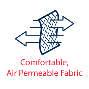 Icon showing airflow through fabric - Comfortable, Air permeable Fabric Icon