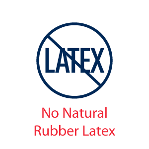 Icon of the word Latext in a circle with a line across it - No Natural Rubber Latex