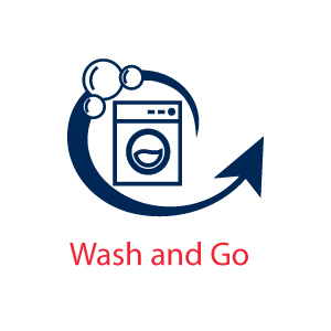 Washing machine icon with bubbles and an arrow - Wash and Go Icon