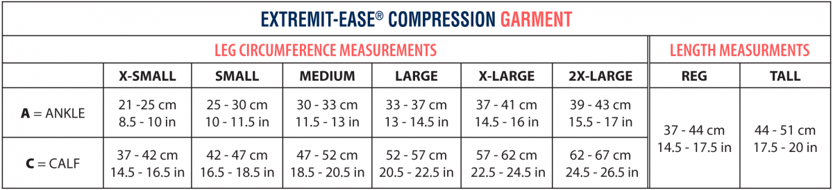 EXTREMIT-EASE Sizing Chart showing all measurements for extra small, small, medium, large, extra large, and extra-extra large sizes as well as tall and regular lengths